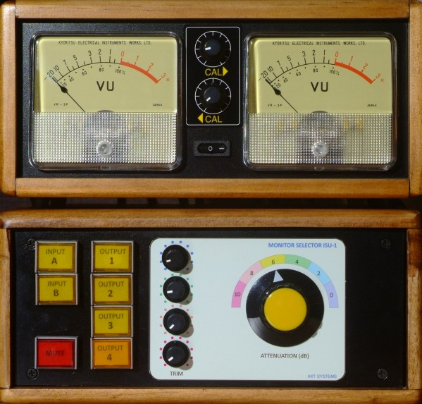 VU meter and Monitor selector together